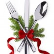 Spoon, fork and knife as christmas symbol celebration — Stock Photo #51898339