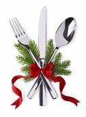 Spoon, fork and knife as christmas symbol celebration — Stock fotografie