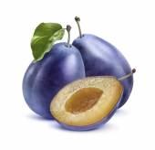 Two blue plums and half isolated on white background — Stock Photo