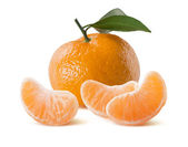 Mandarin leaf like flag and segments isolated on white — Stock Photo