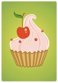 Cake with cherry on green — Stock Vector