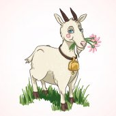 Goat animal with flowers — 图库矢量图片