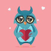 Owl in love with heart — Stock Vector