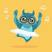 Happy dancing owl — Stock Vector