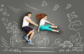 Biking to the future. — Stock Photo
