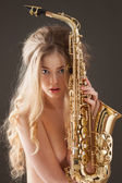 Learning sax. — Stock Photo