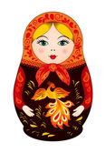 Matryoshka in autumn style with firebird — Stock Vector