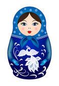 Matryoshka doll in winter style — Stock Vector