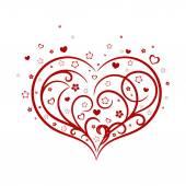 Vignette red heart with flowers — Stockvektor