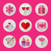 Valentine flat round icons set for mobile or web site applications. — Stock Vector