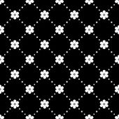 Seamless white and black pattern with flowers — ストックベクタ