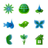 Ecology icons set on white — Vector de stock