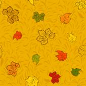Seamless autumn pattern with colourful fairy leaves — Stock Vector