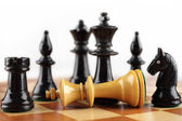 Chess concept. Checkmate white king. Background with free text space. — Stock Photo