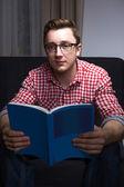 Nice nerdy bookworm — Stock Photo