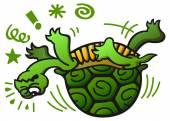 Green turtle having trouble — Stock Vector