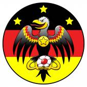 German eagle with soccer ball — Stockvector