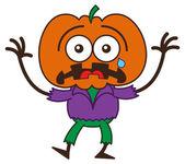 Orange pumpkin in fearful mood — Stock Vector