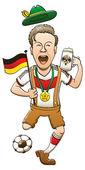 Soccer fan waving a germany flag — Stock Vector