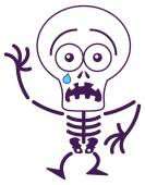 Skeleton in fearful mood — Stock Vector