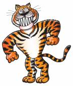 Tiger posing in a funny way — Stock Vector