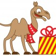 Happy camel with gift — Stock Vector #61123285