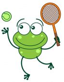 Frog going to play tennis — Stock Vector