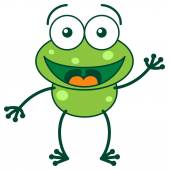 Frog greeting and waving hand — Stock Vector