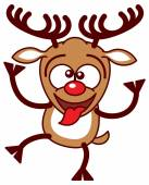 Printreindeer sticking its tongue out — Stock Vector