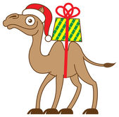 Christmas camel carrying a gift on his back — Stock Vector