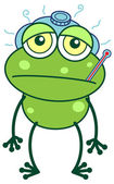 Sick frog with an ice pack and thermometer — Stock Vector
