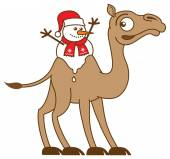 Christmas snowman on worried camel — Stock Vector