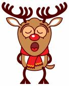Reindeer singing totally concentrated — Stock Vector