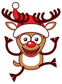 Printreindeer smiling and jumping — Stock Vector
