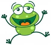 Laughing green frog — Stock Vector