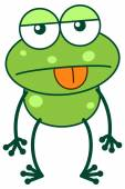 Frog sticking its tongue out — Stock Vector