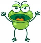 Green frog yelling in a very irritated mood — Stock Vector