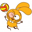 Bunny while playing volleyball — Stock Vector #66061349
