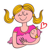 Mother Lovingly Holding Her Baby — Stock Vector