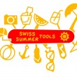 Swiss army knife with summer tools — Stock Vector #72590895