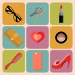 Set of woman accessories app icons — Stock Vector #70824279