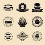 Vintage fast food logo set. — Stock Vector #70824337