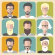 Set of different men with beards and moustache — Stock Vector #70827643