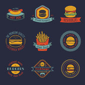 Vintage fast food logo set. — Stockvektor