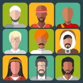 Set of different nationality man icons — Stock Vector