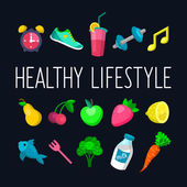 Set of Healthy lifestyle icons — Stock Vector