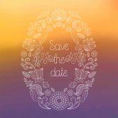 Carte d'invitation de mariage floral Danslecadrede — Vecteur