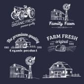 Çiftlik taze Logotype Retro kümesi — Stok Vektör
