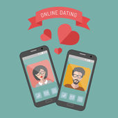 Illustration of online dating — Stock Vector
