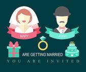Bröllop inbjudningskort med band — Stockvektor